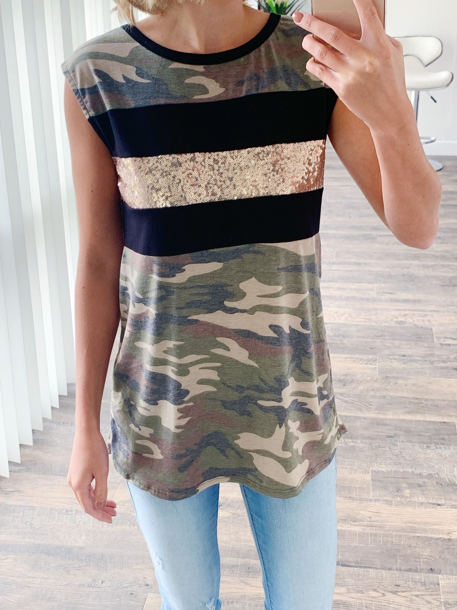 Glam Camo Sleeveless Top