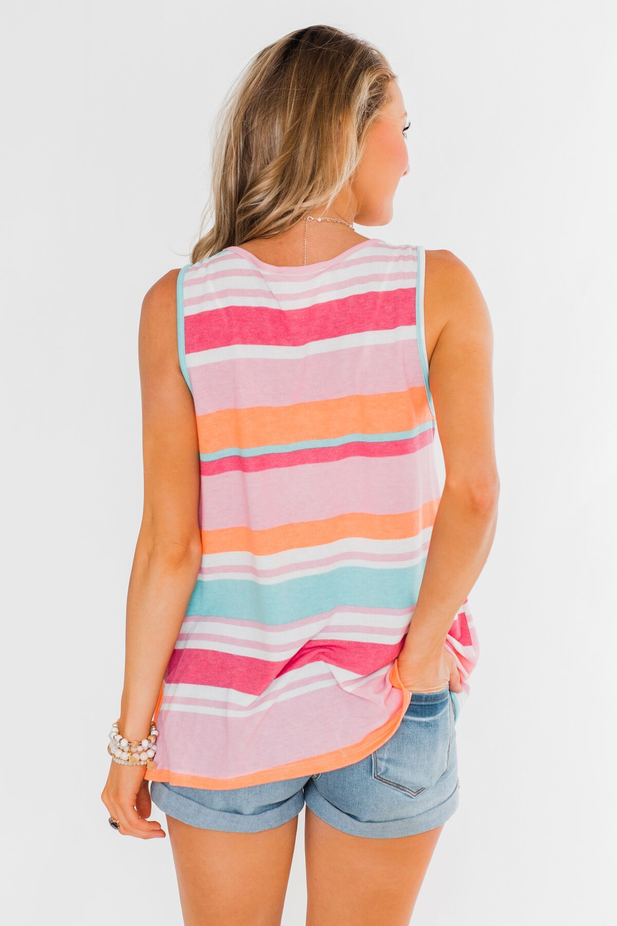 Brighter Days Striped Pocket Tank Top- Multi