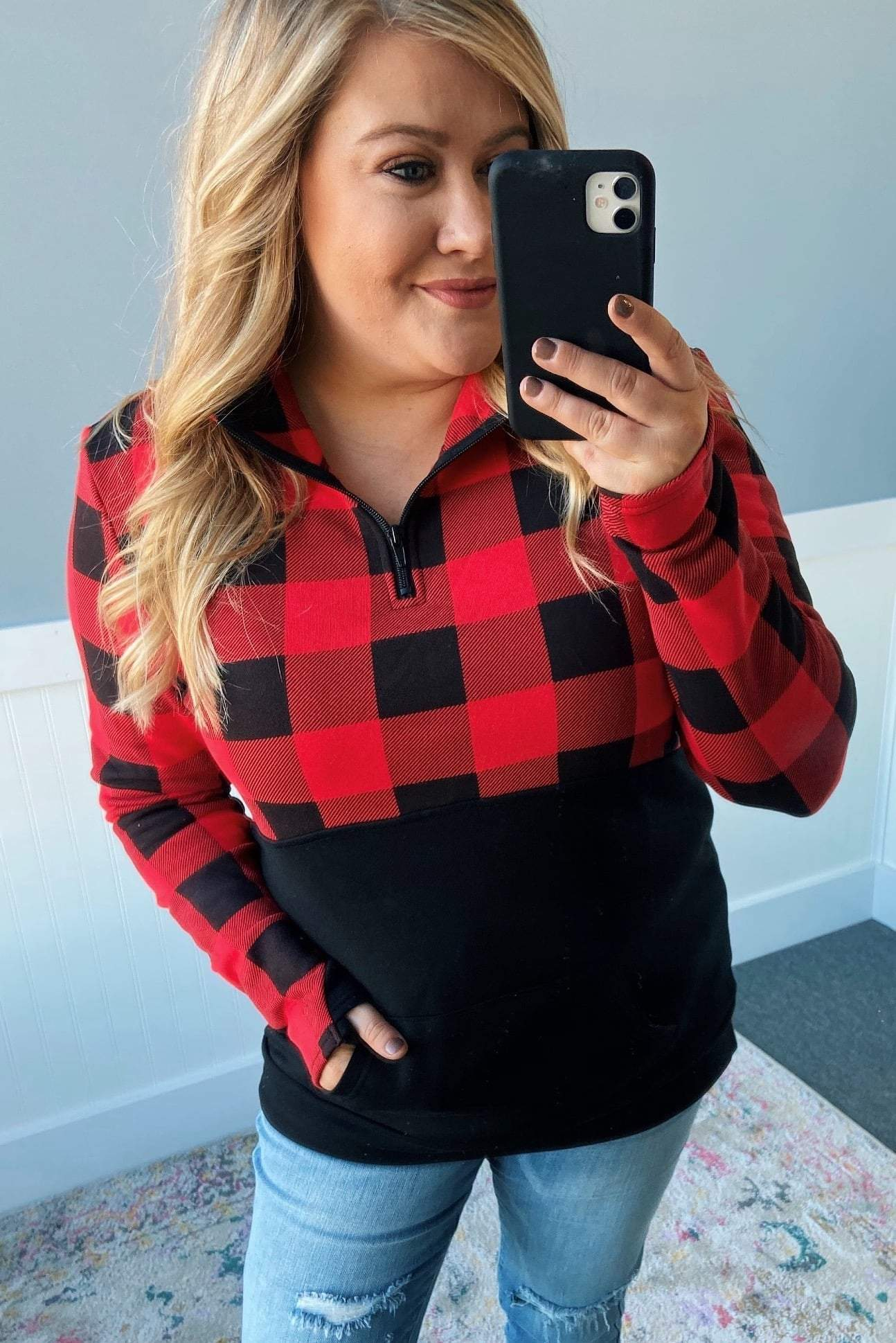 Winter Cheer Color Block Pullover- Buffalo Plaid
