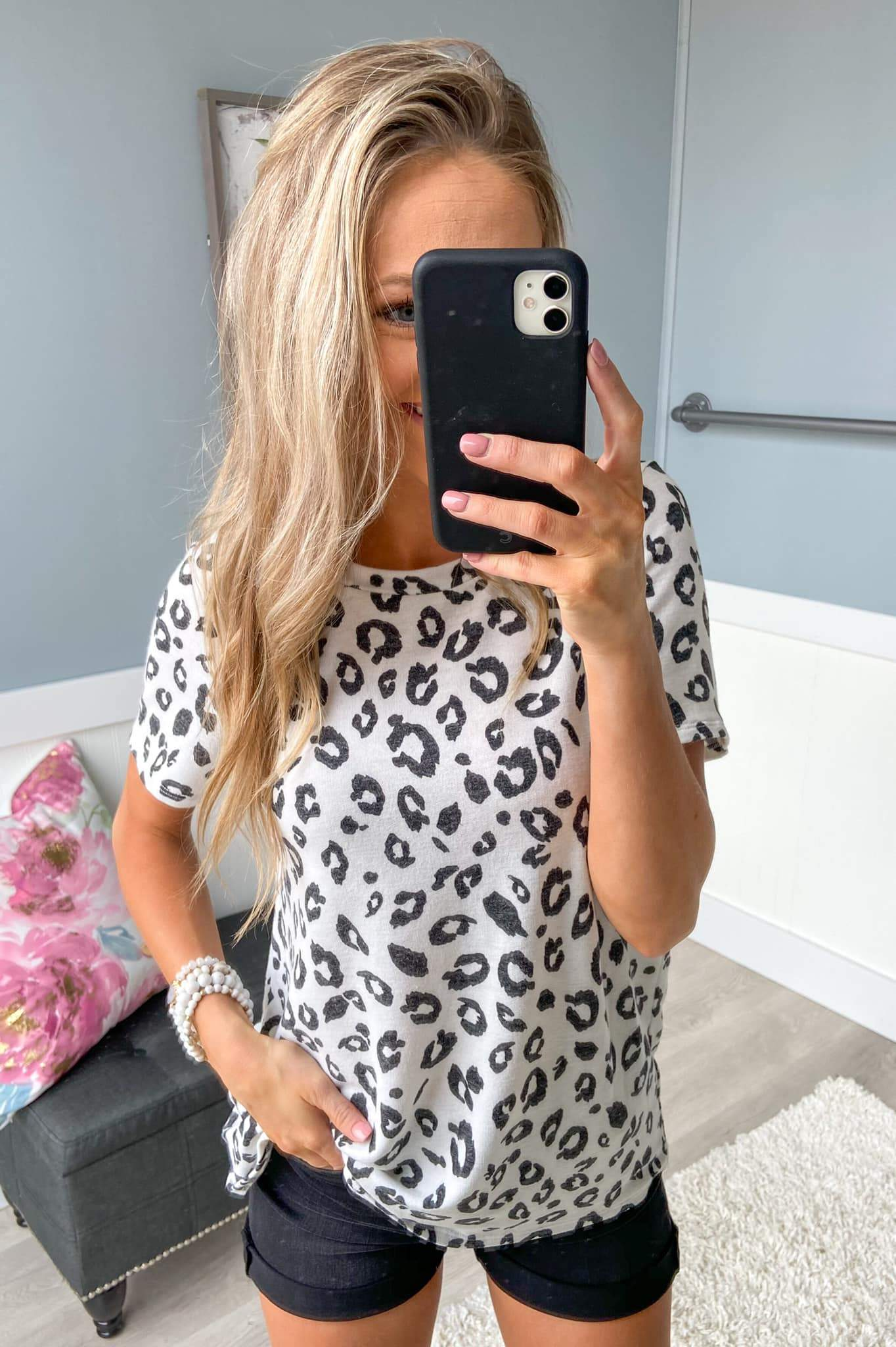 Never Too Late Short Sleeve Leopard Top- Ivory