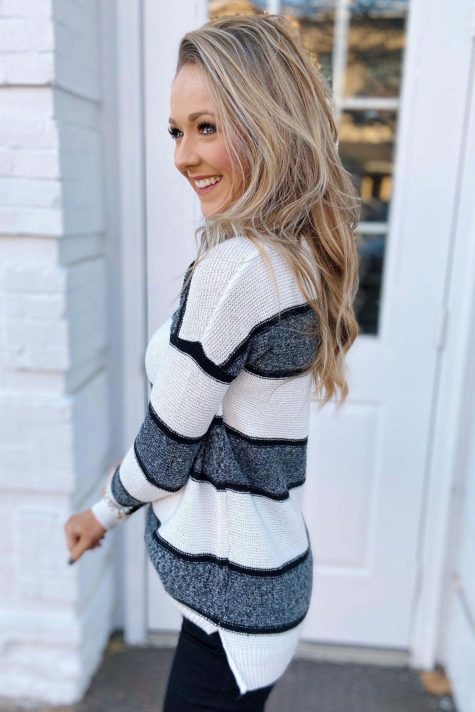 Oh So Soft Striped Knit Sweater- White