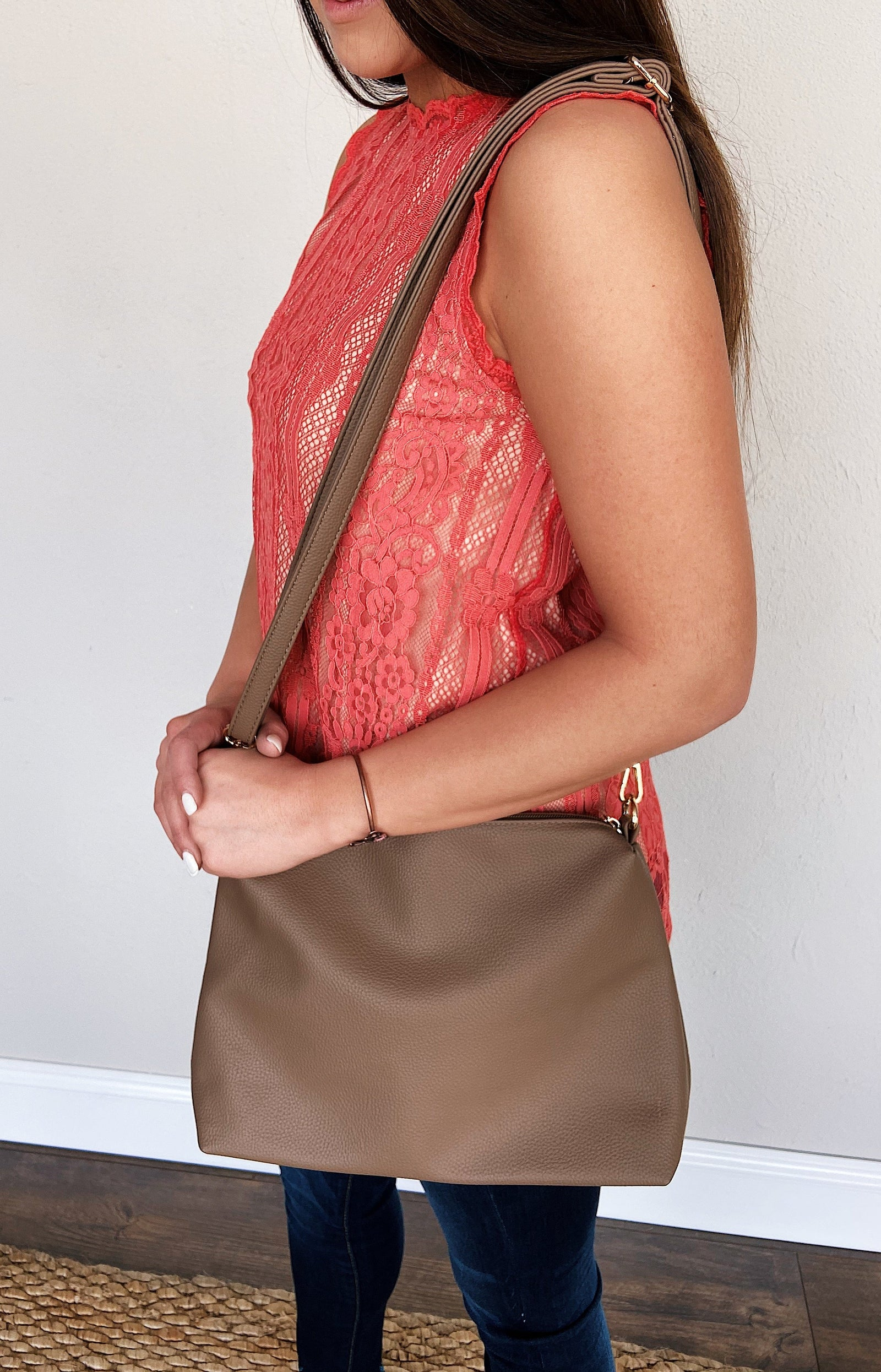 Day After Day Essential Zipper Purse- Dark Taupe