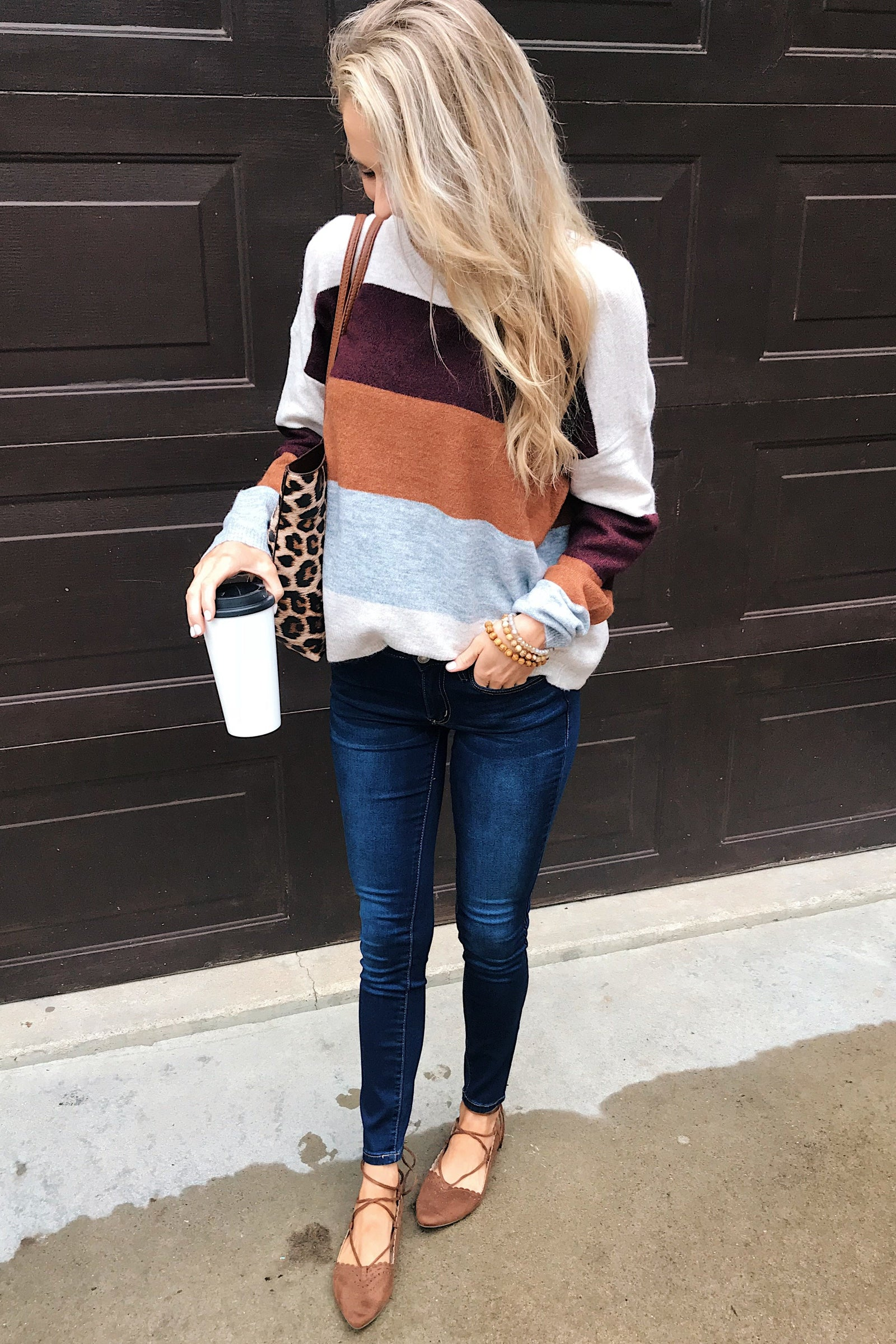 Mountain Getaway Sweater- Burgundy & Natural Tones