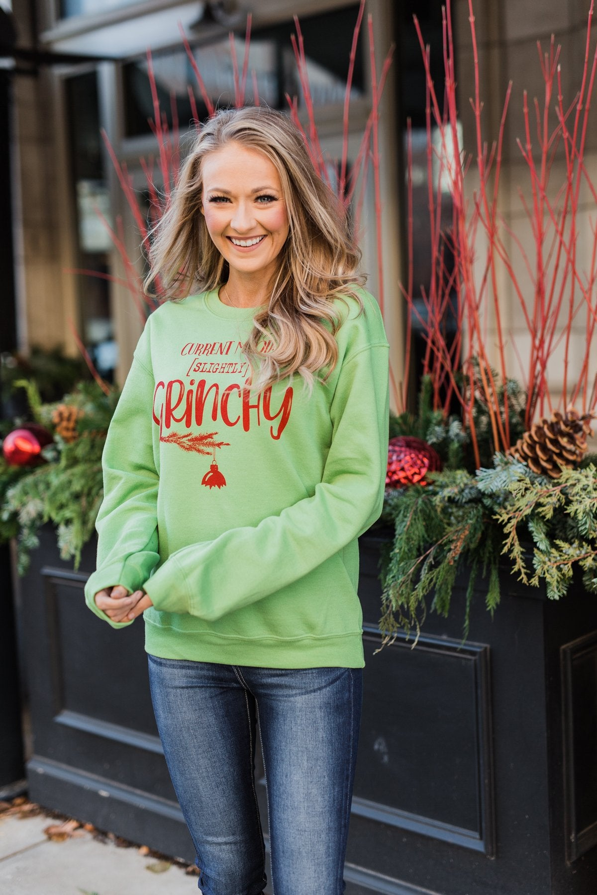 """Slightly Grinchy"" Graphic Pullover- Grinch Green"
