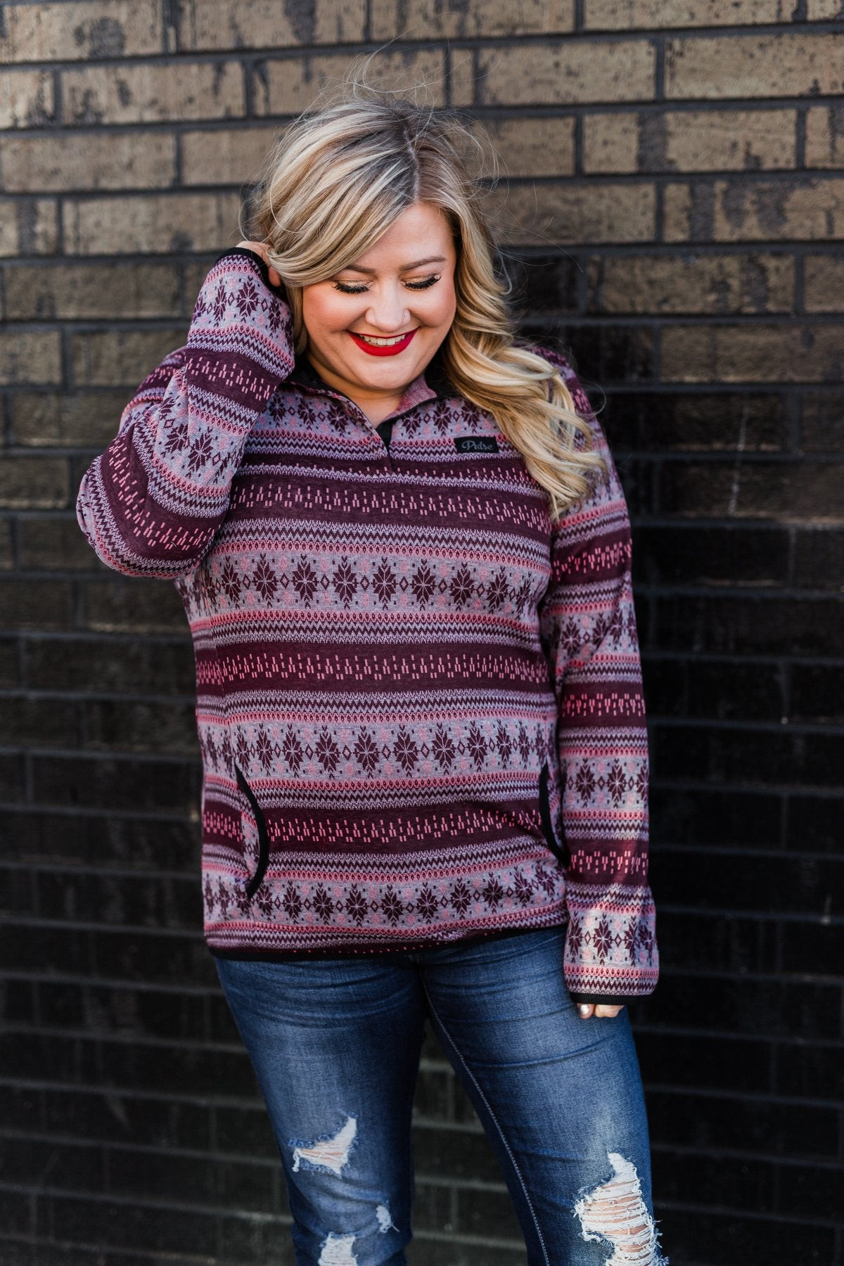 Holiday Spirit Pulse Pullover- Maroon