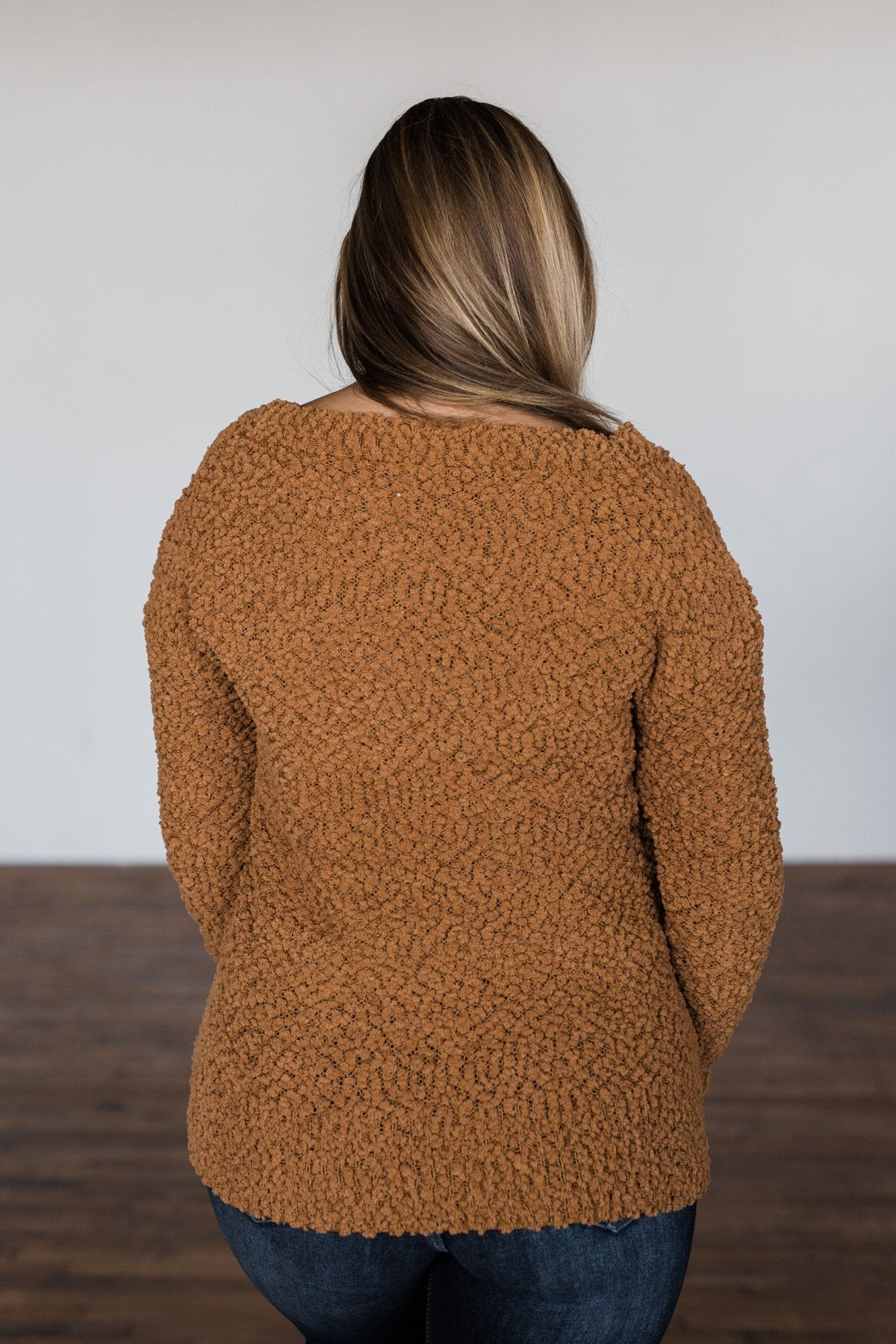 All I Can Do Popcorn Knit Sweater- Camel