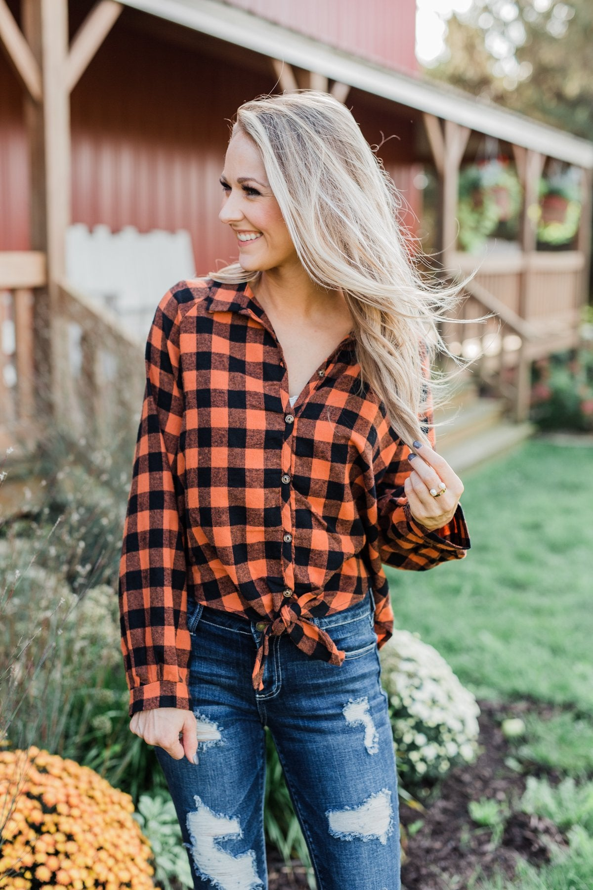 Takes Me Back Front Tie Plaid Top- Burnt Orange