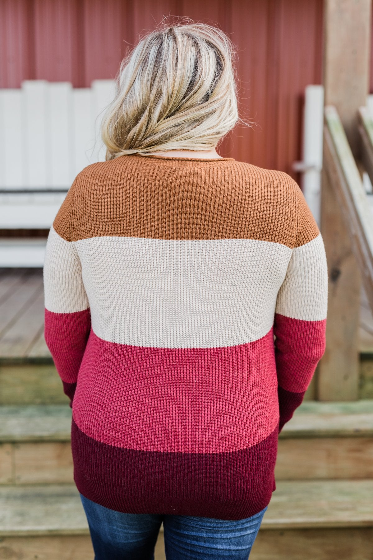 Say You Love Me Knit Sweater- Camel & Burgundy
