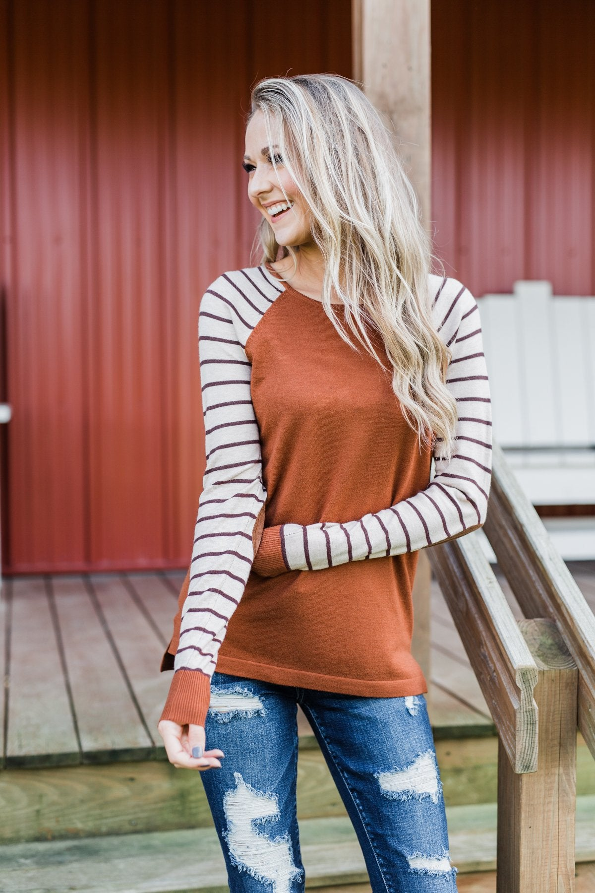 Loving Life Striped Sweater- Copper & Oatmeal