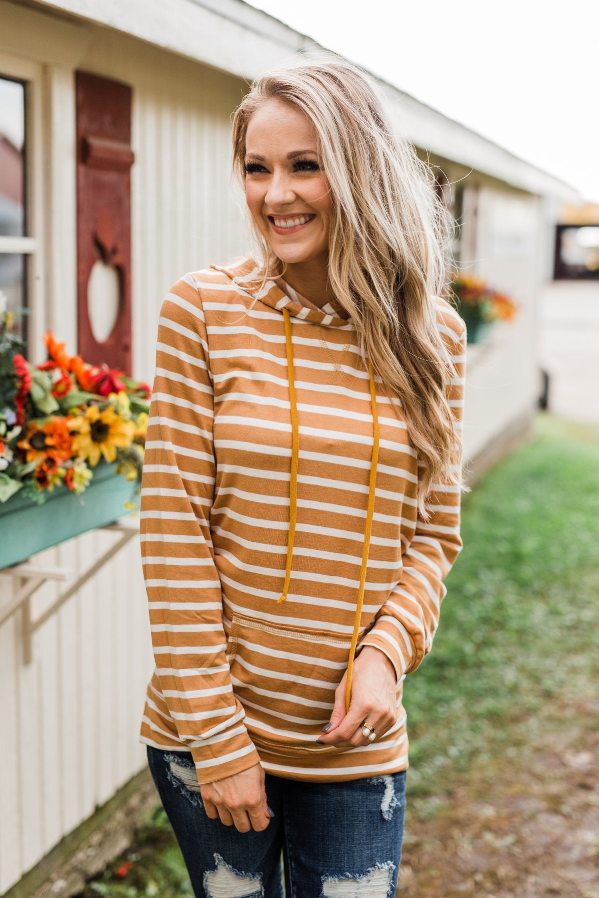A Sure Thing Striped Tunic Hoodie- Dark Mustard & Ivory
