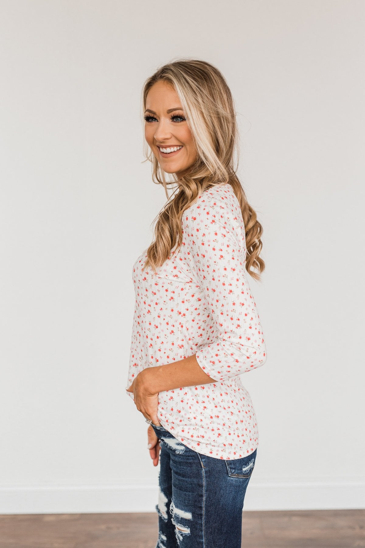 Always By My Side Button Henley Top- Ivory