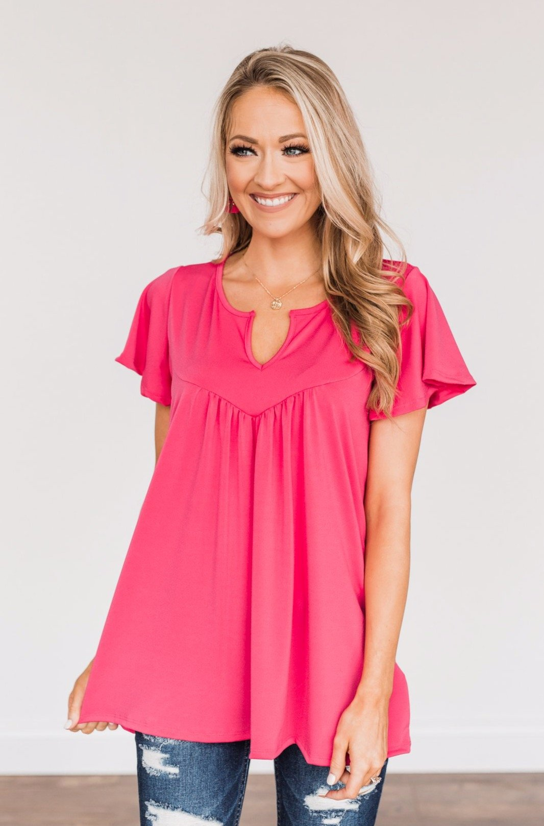 Strive For Excellence Notch Top- Fuchsia