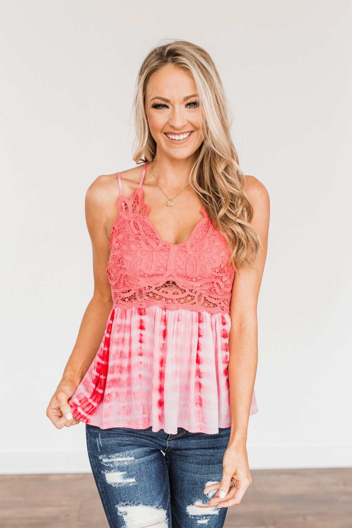 Elegantly Elevated Lace Tank Top- Shades Of Pink