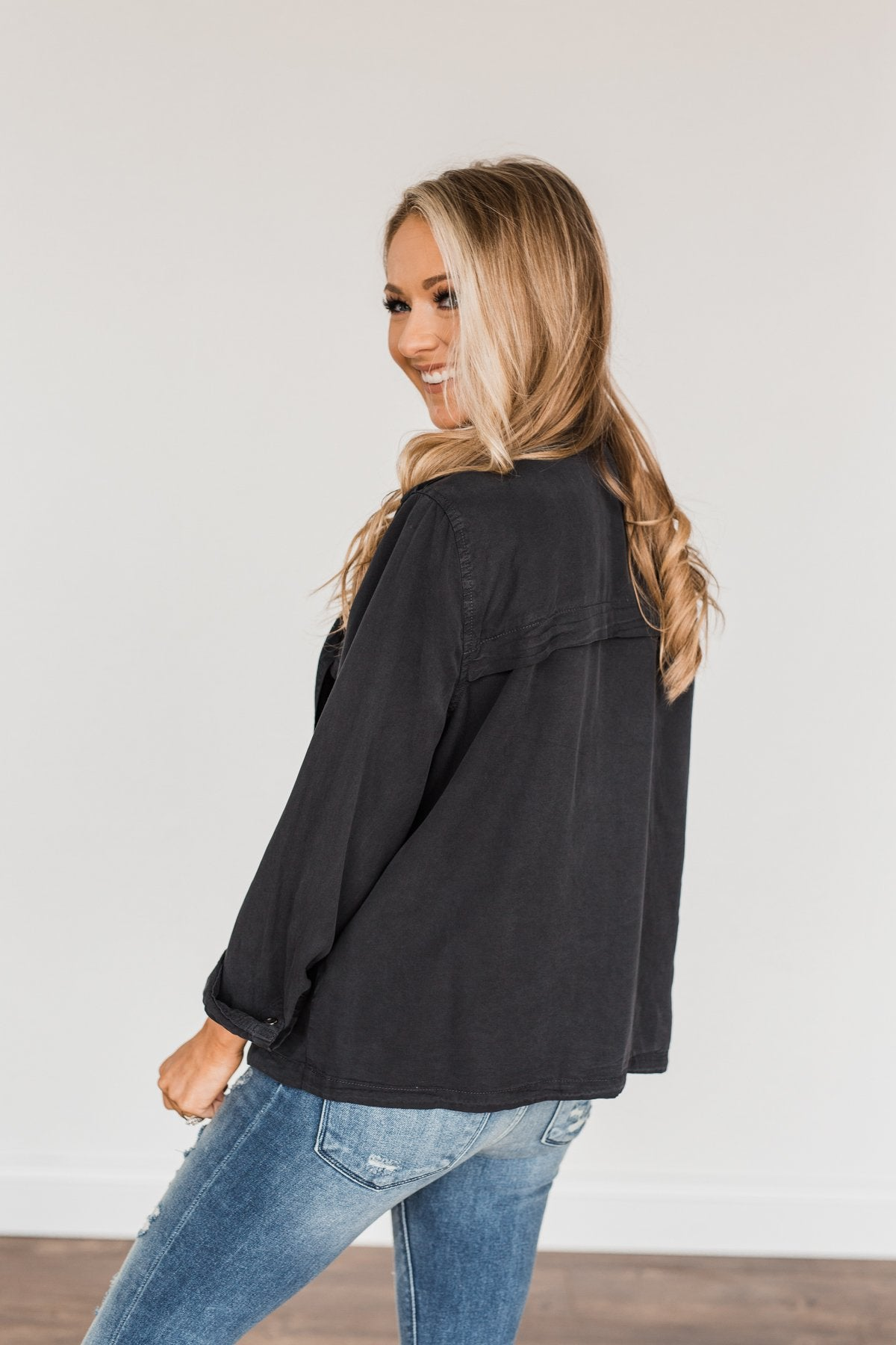 Aspire To Be Authentic Lightweight Jacket- Charcoal