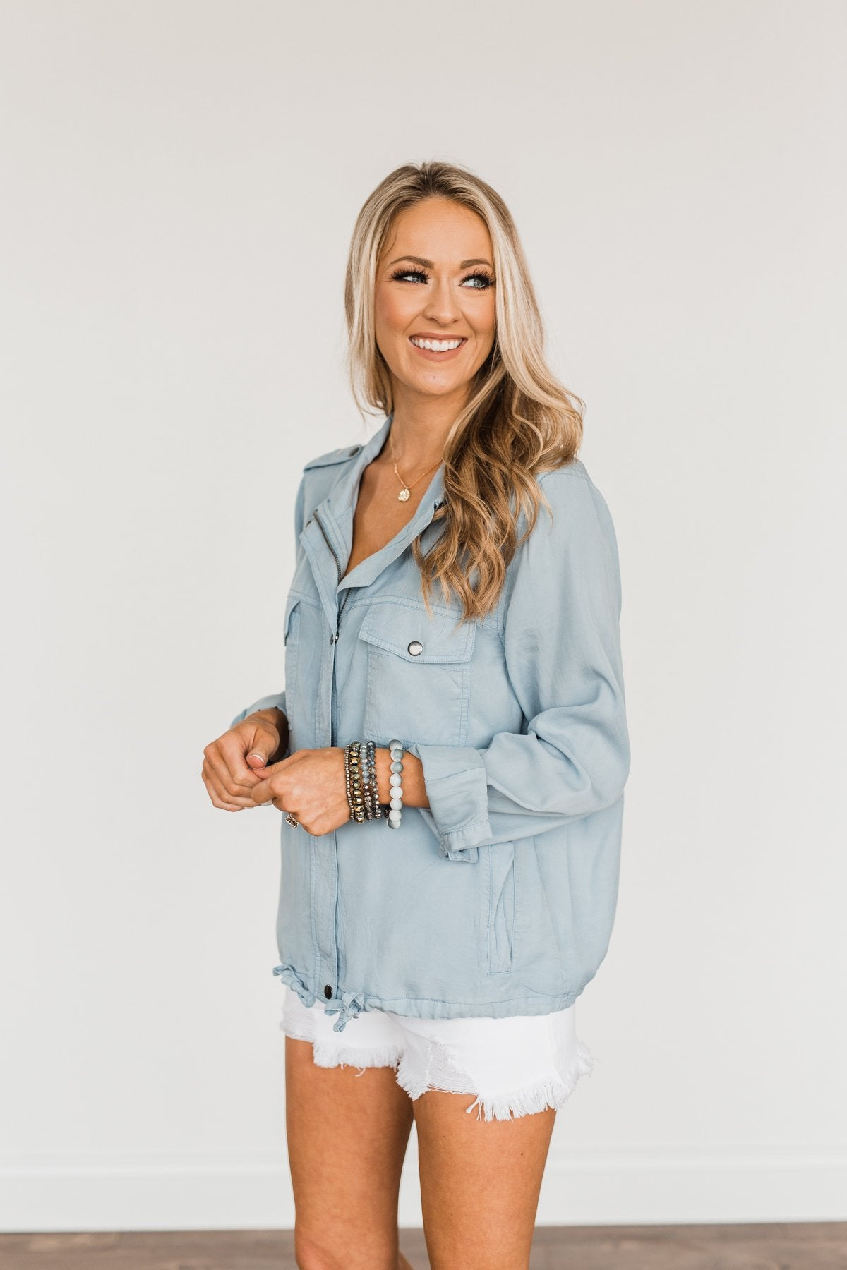 Aspire To Be Authentic Lightweight Jacket- Light Denim