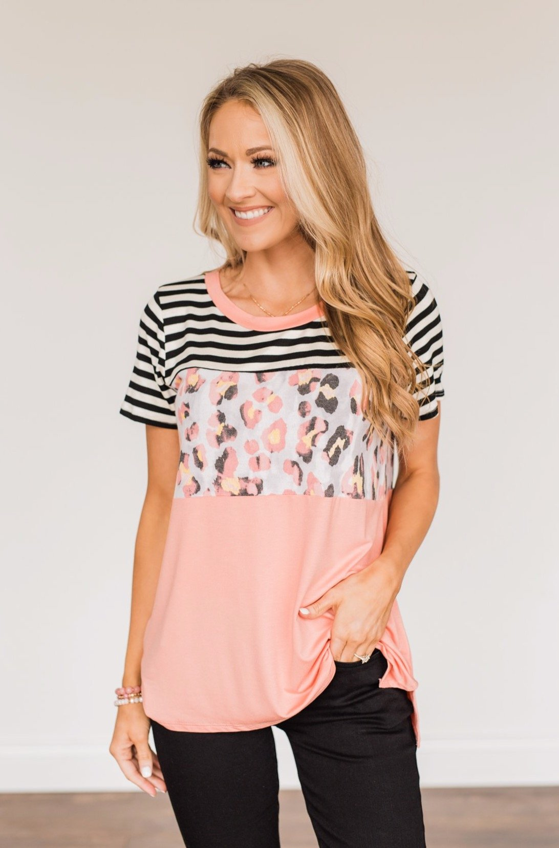 Always Alluring Color Block Top- Soft Coral, Ivory, & Black