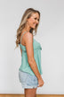 Better Than I Was Bow Tie Tank Top- Dusty Sage