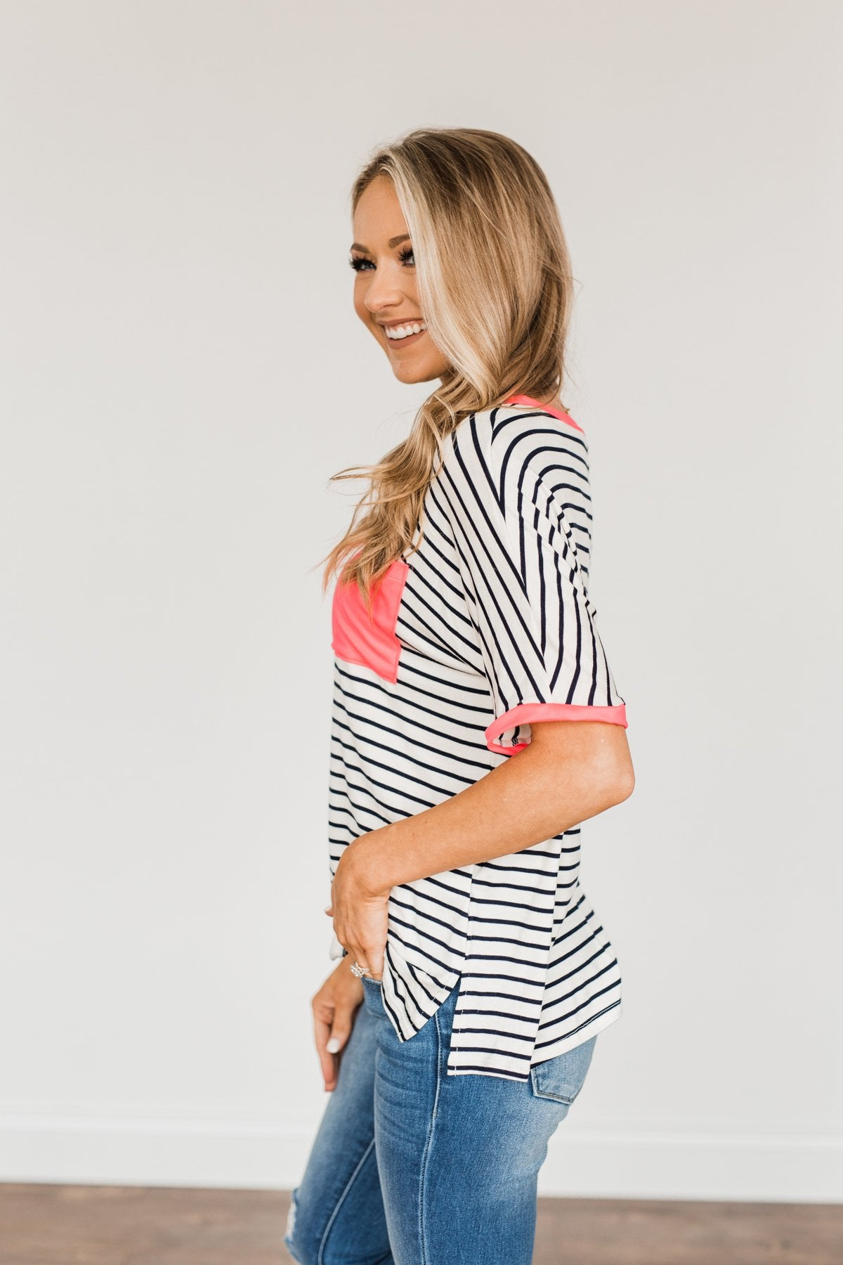 Make Way For Spring Striped Pocket Top- Ivory & Navy
