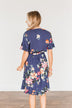 You're My Treasure Floral Wrap Dress- Navy