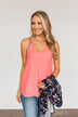 Memories Made Together Criss-Cross Tank Top- Salmon Pink