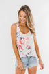 Bursting In Color Racerback Tank Top- Ivory