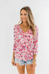 Floral Ruffle 3/4 Sleeve Top- Pink, Purple, Blue