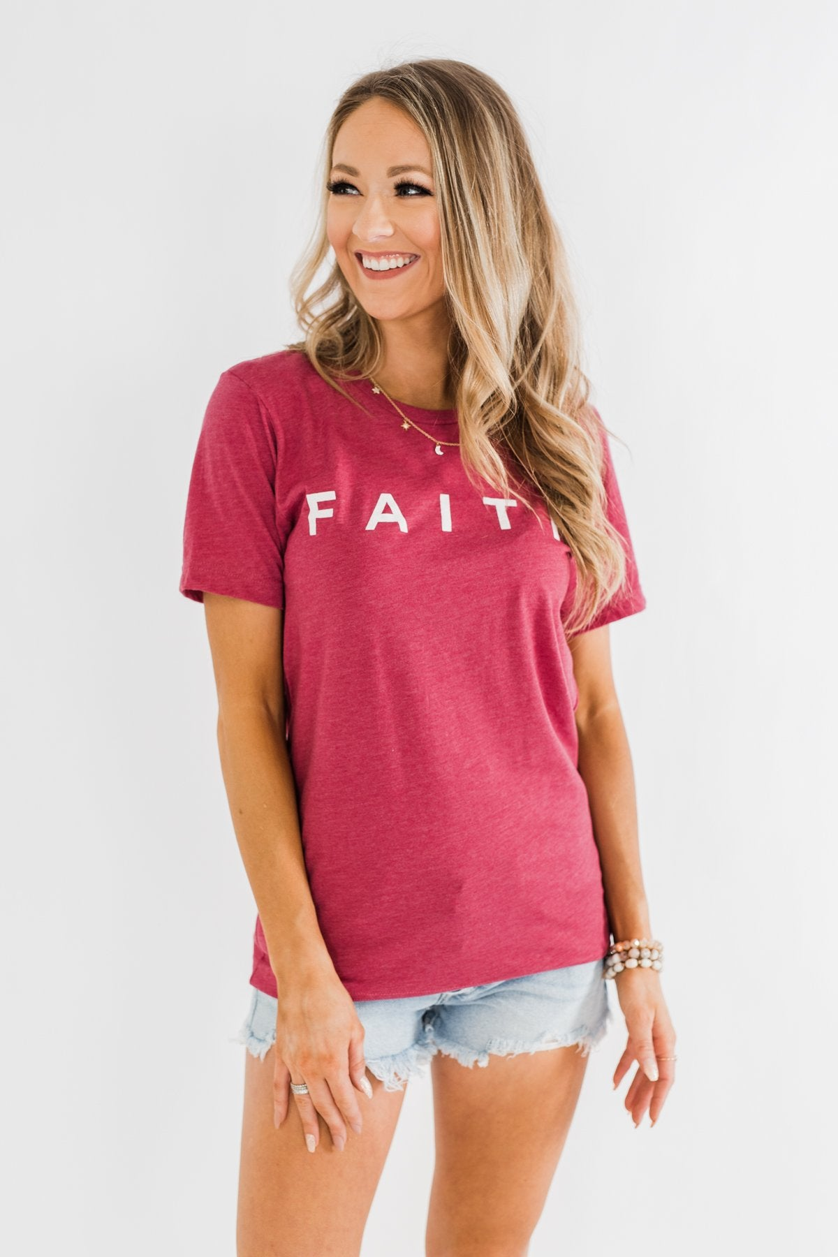 """Faith"" Graphic Tee- Wild Berry"
