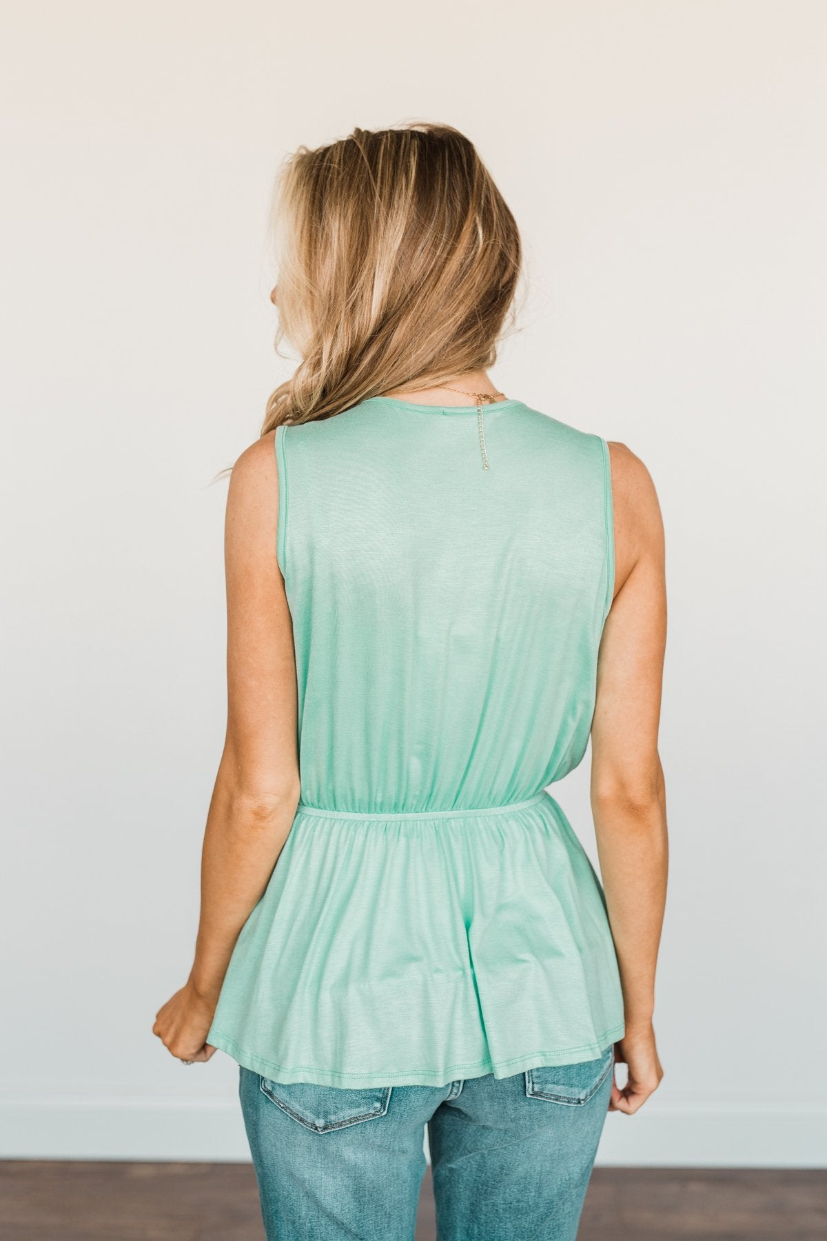 Ocean Views Ruffled Sleeveless Blouse- Mint