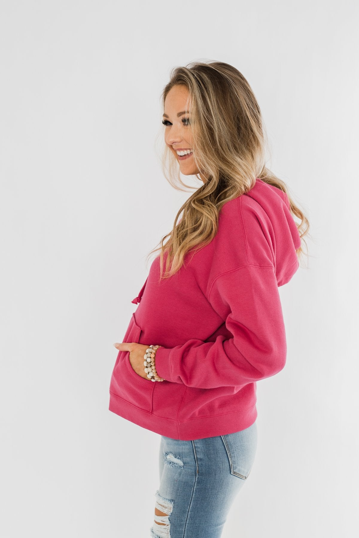 Keep It Cozy Cropped Hoodie- Hot Pink