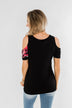 Best Side of Me Cold Shoulder Top- Black