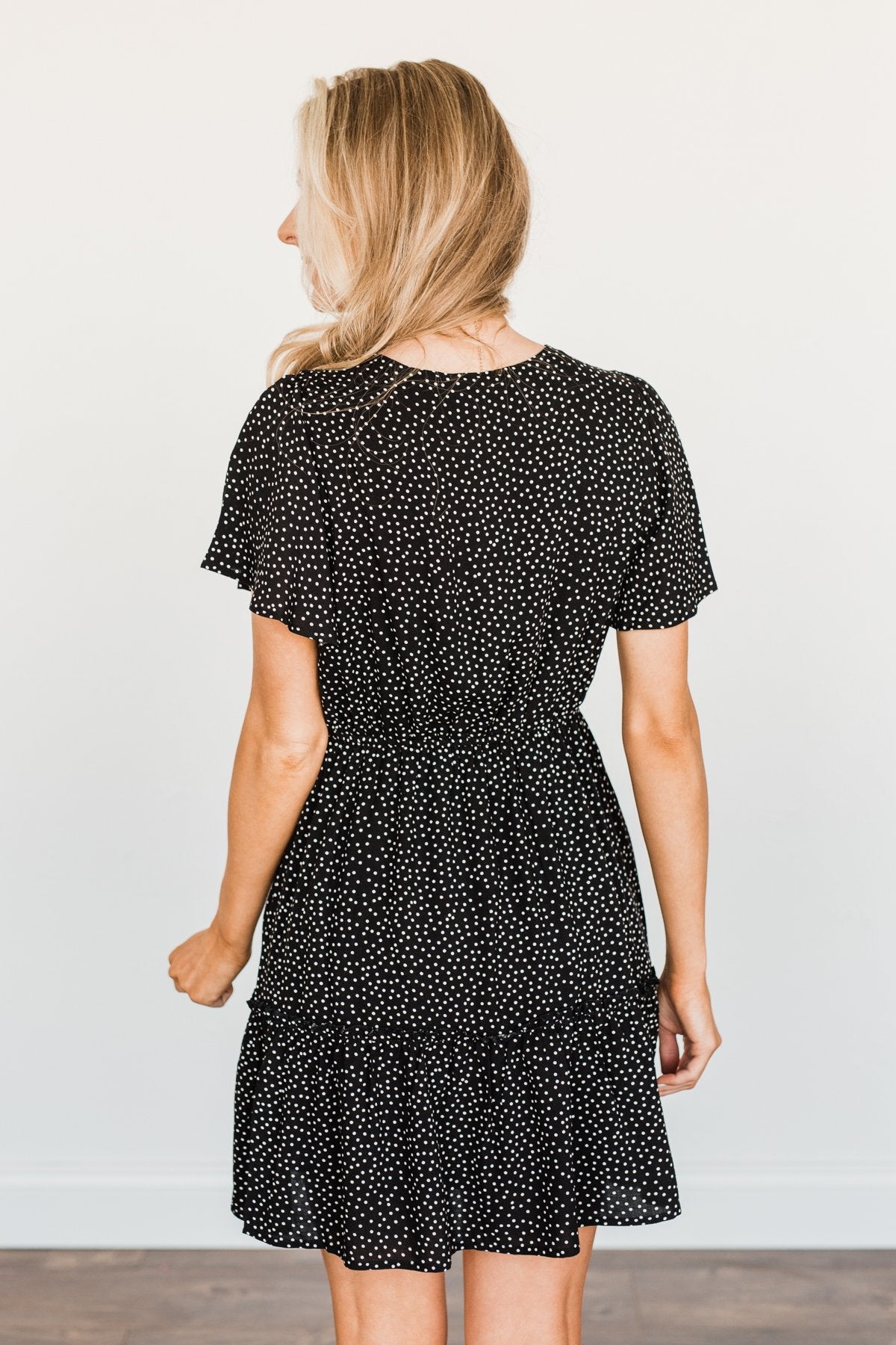 Meant For Me Spotted Dress- Black