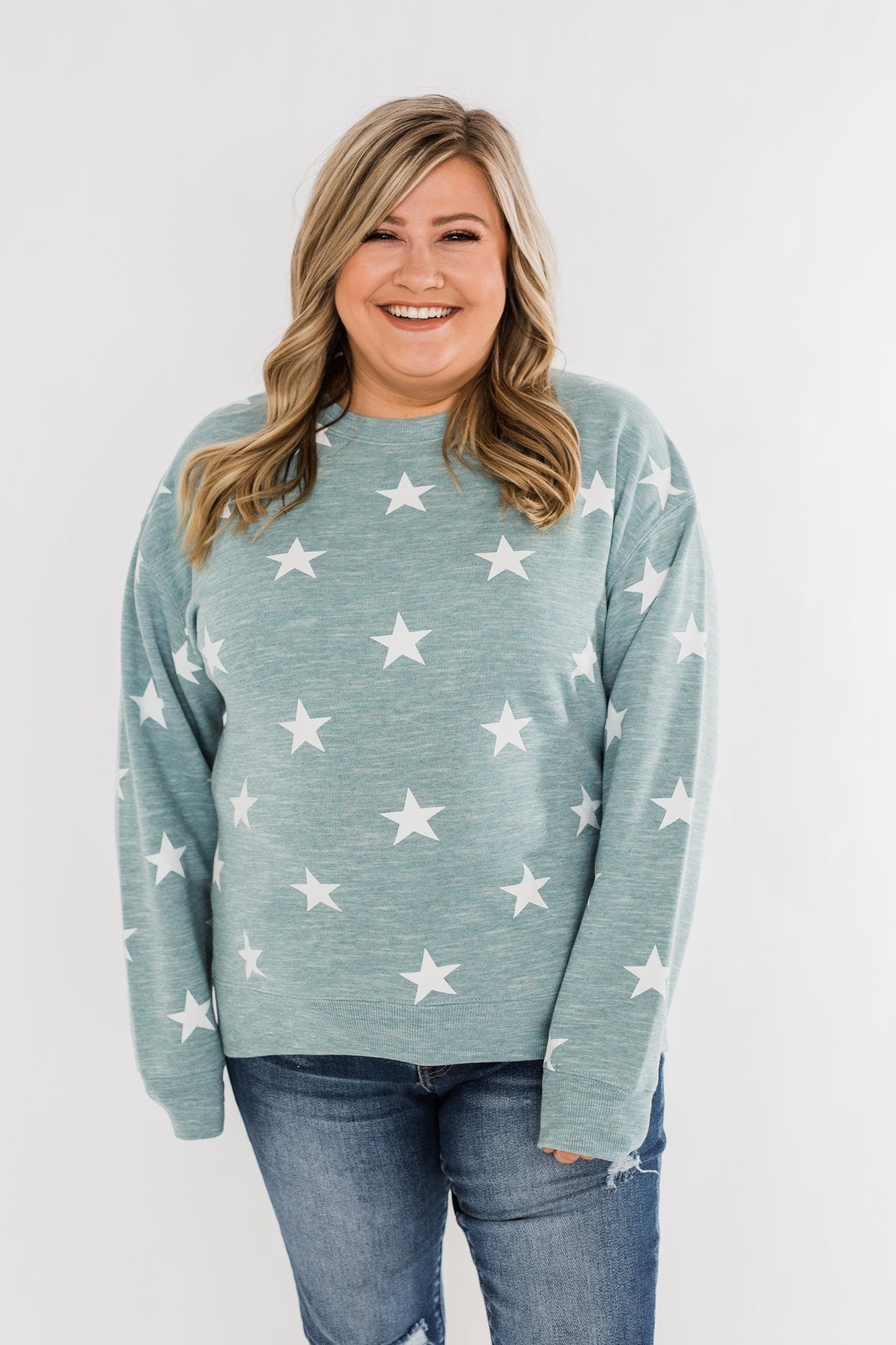 Counting The Stars Crew Neck Pullover- Dusty Teal