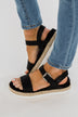 Very G Glossy Platform Sandals- Black