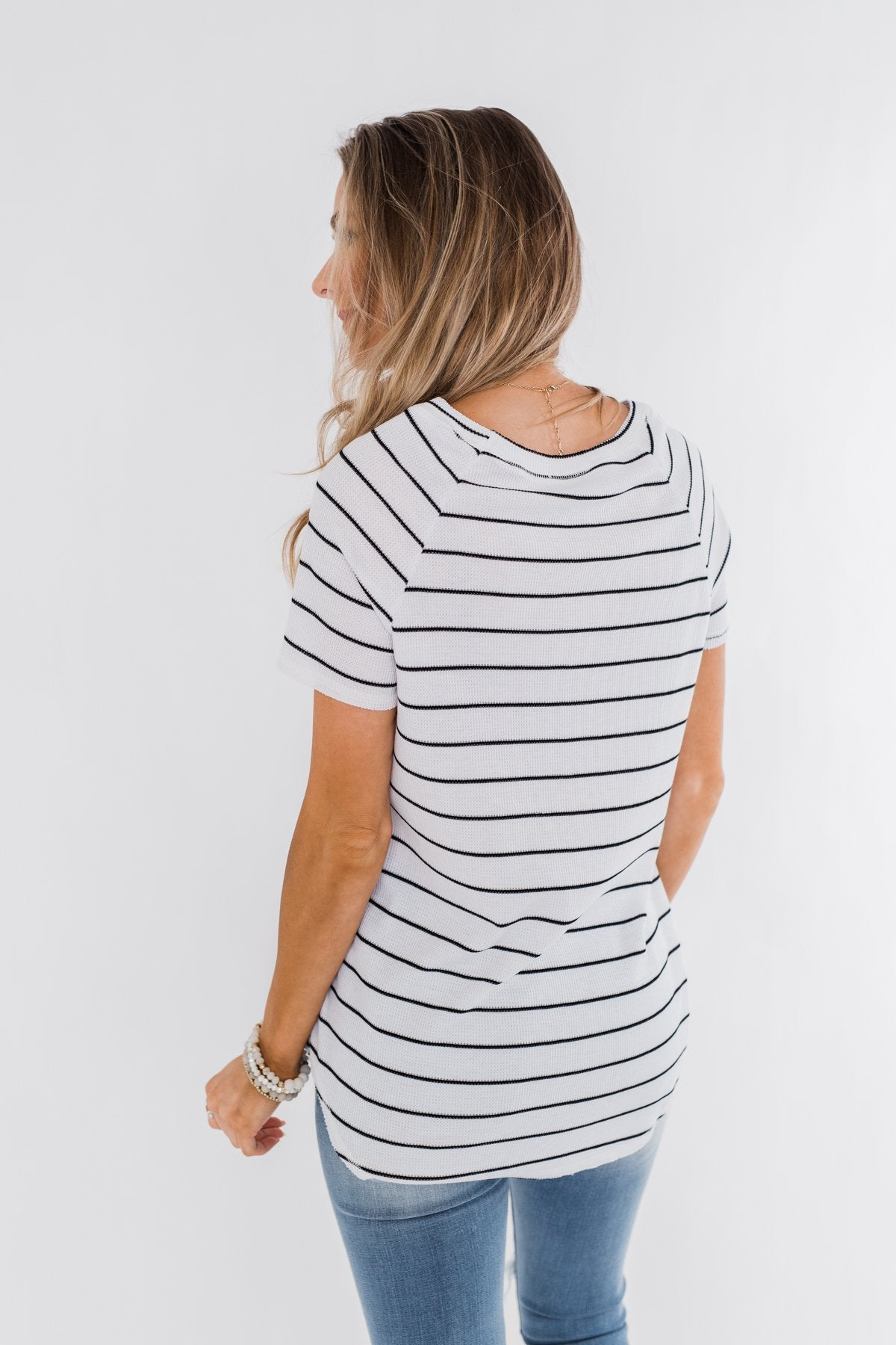 Between The Lines Striped Top- Black & White