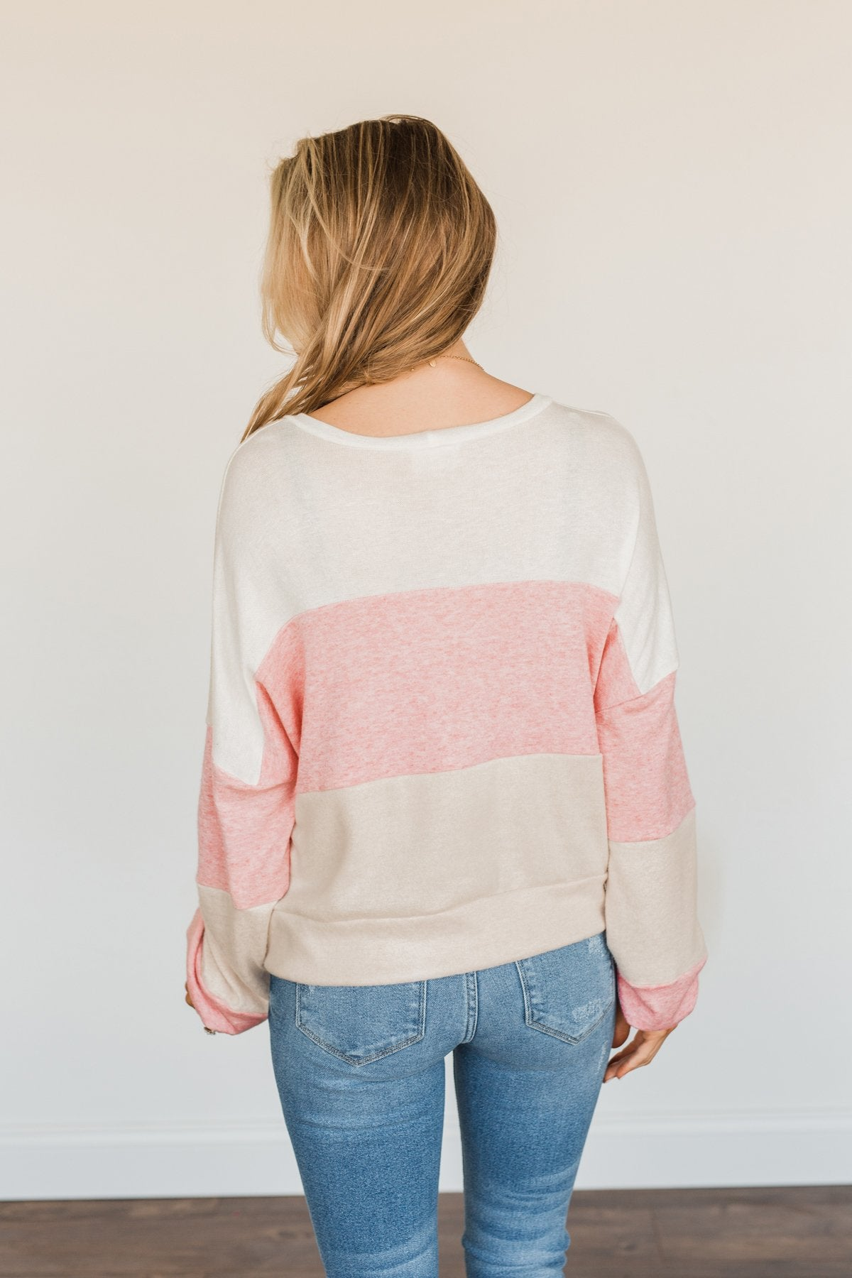 Chasing My Dreams Color Block Top- Ivory, Dusty Pink & Oatmeal