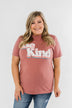 """Be Kind"" Graphic Tee- Heather Mauve"
