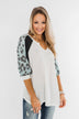 Leopard Sleeve Waffle Notch Top- Ivory, Charcoal, Blue