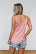 No Matter What Striped Button Tank Top- Mauve