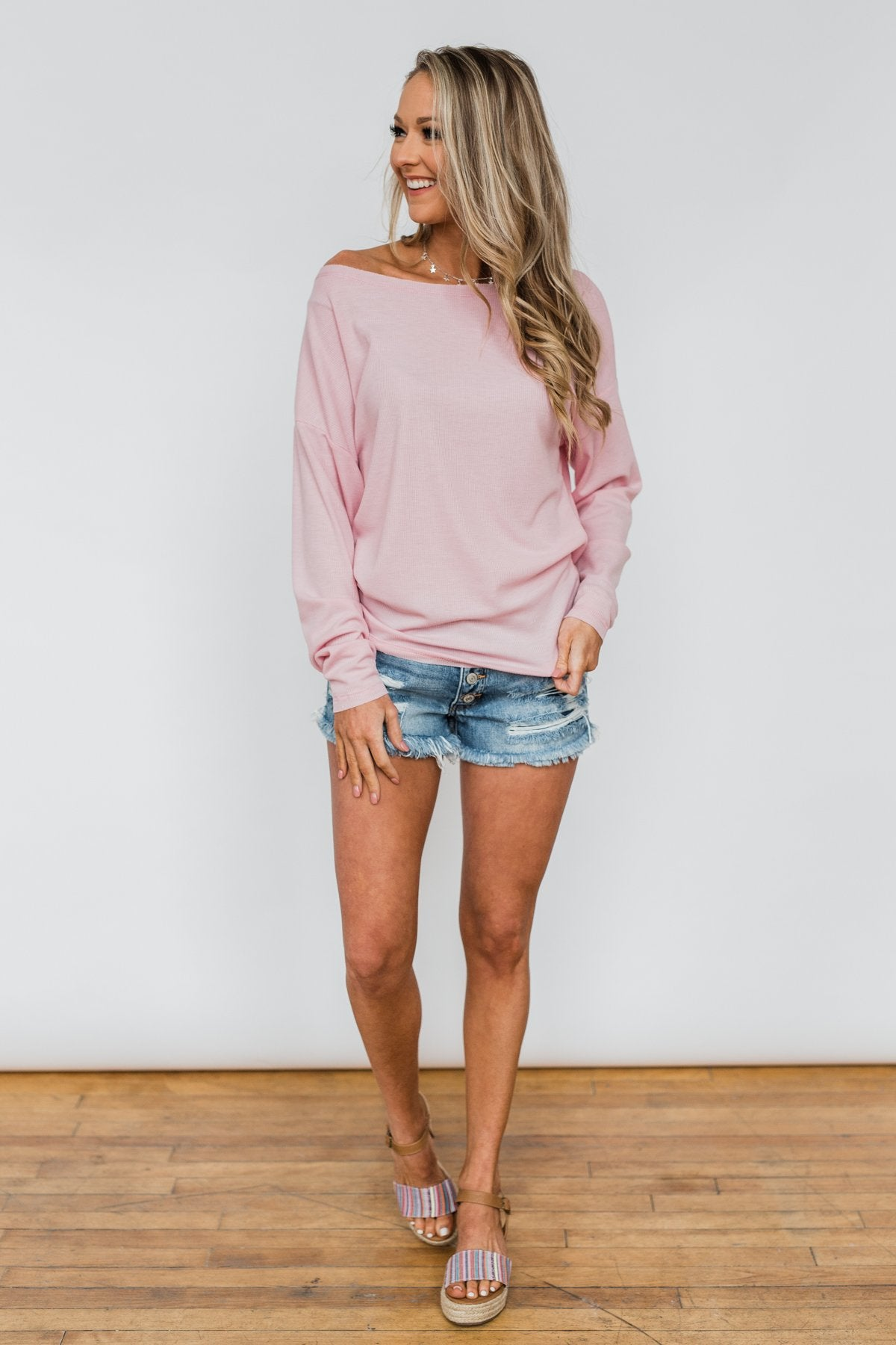 Lightweight Long Sleeve Thermal Top- Pink