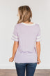 Looking Lovely Varsity Stripe Top- Lilac