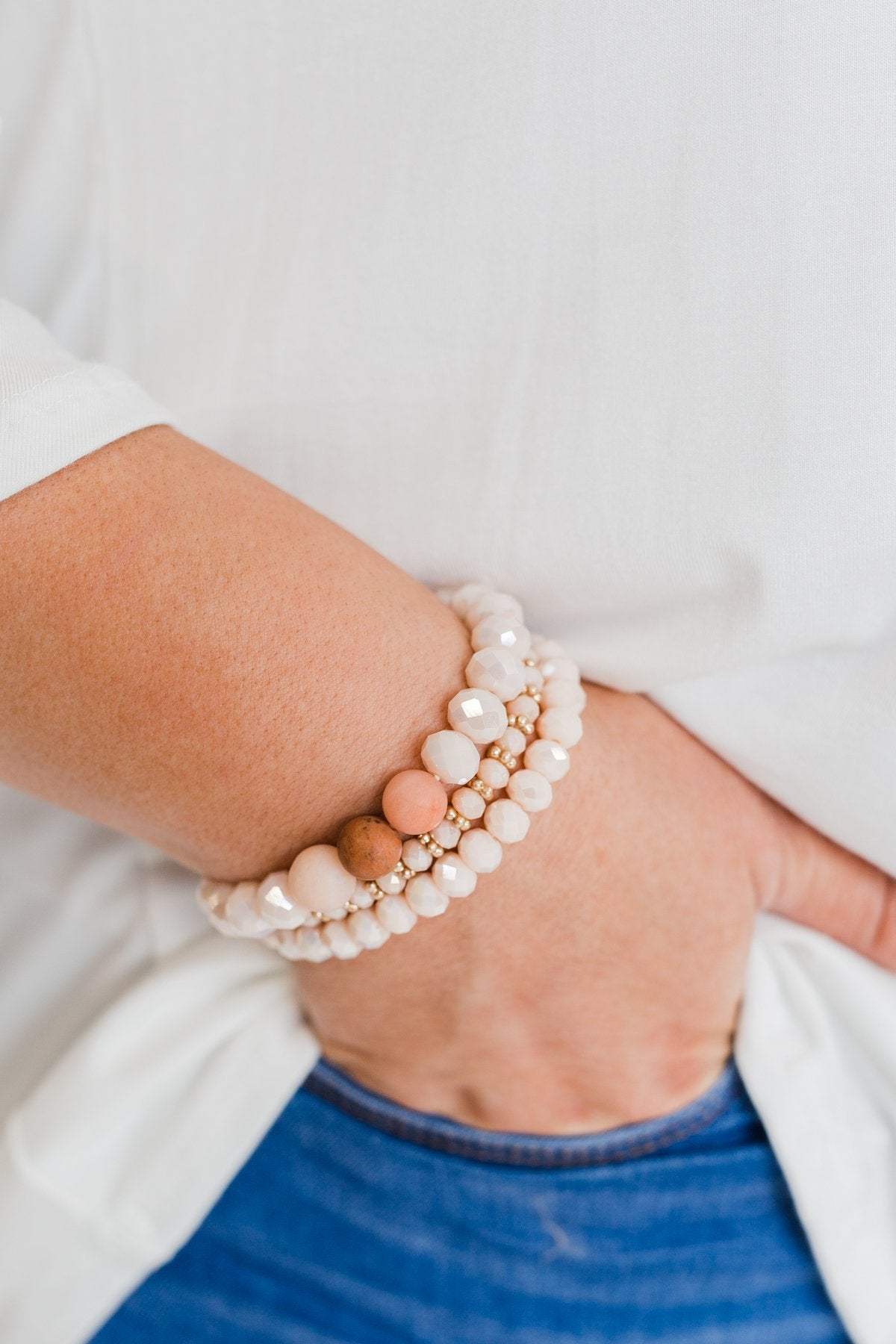 Shaded Beaded Bracelet Set- Blush