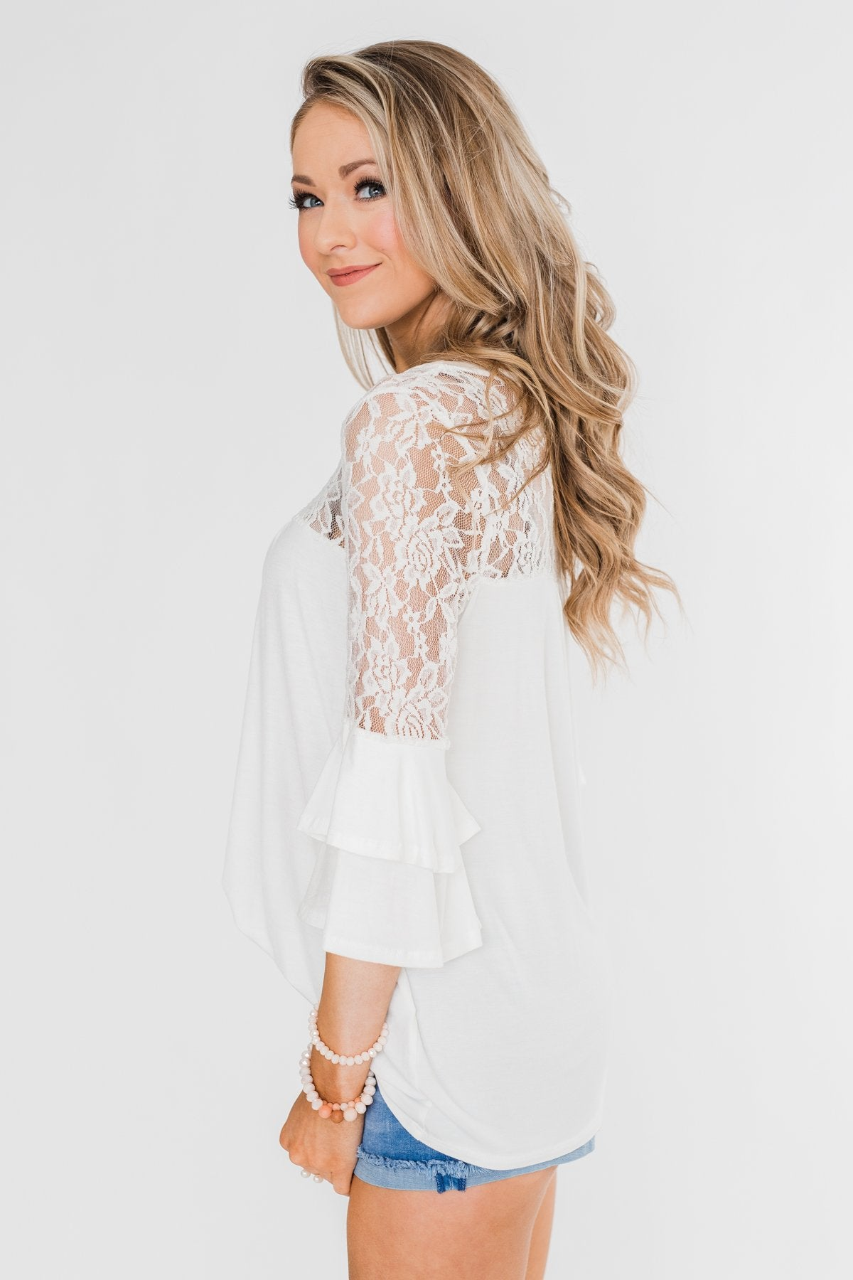 Right Beside Me Lace & Ruffles Top- Ivory