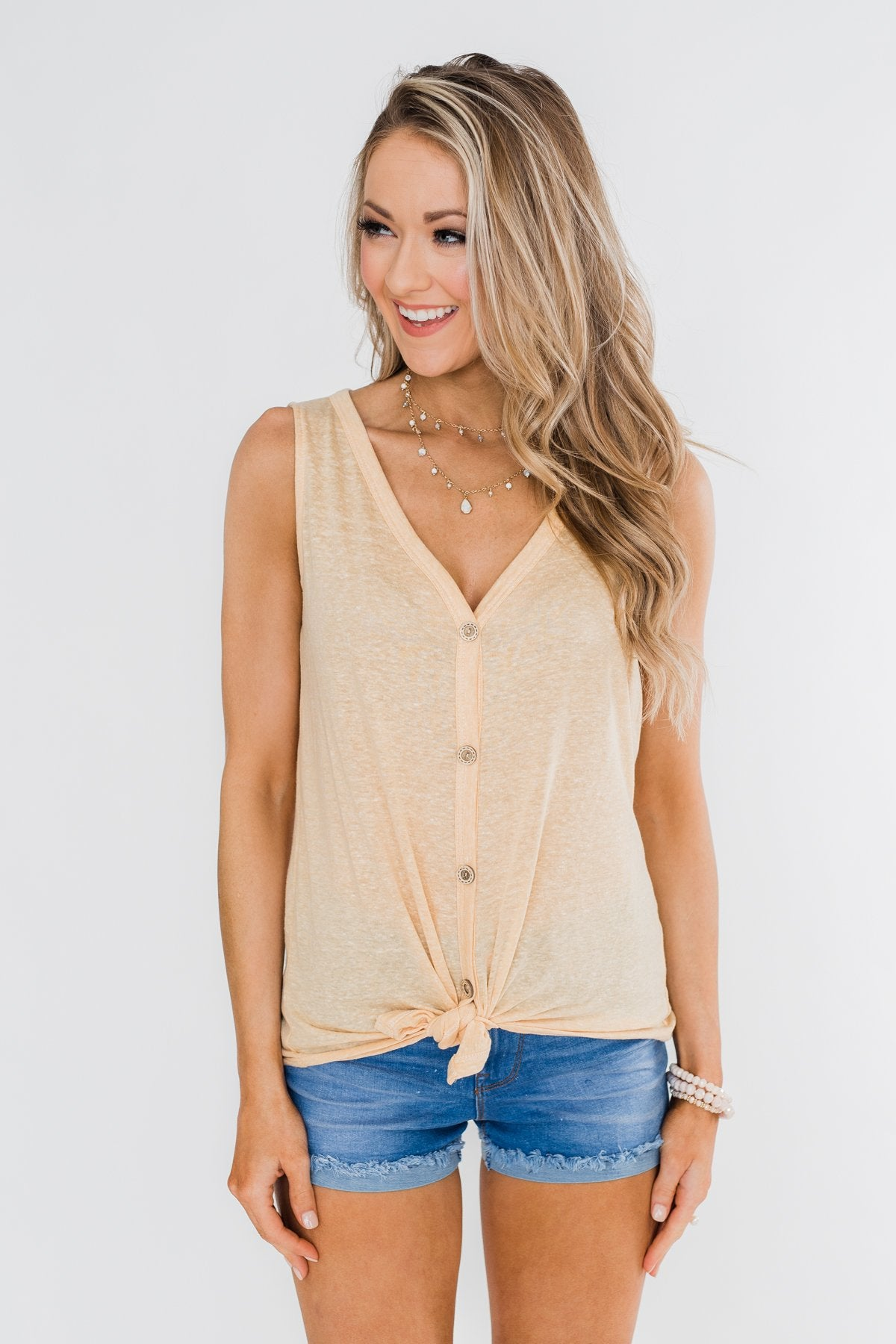 Everyday Button Tie Tank Top- Dusty Yellow