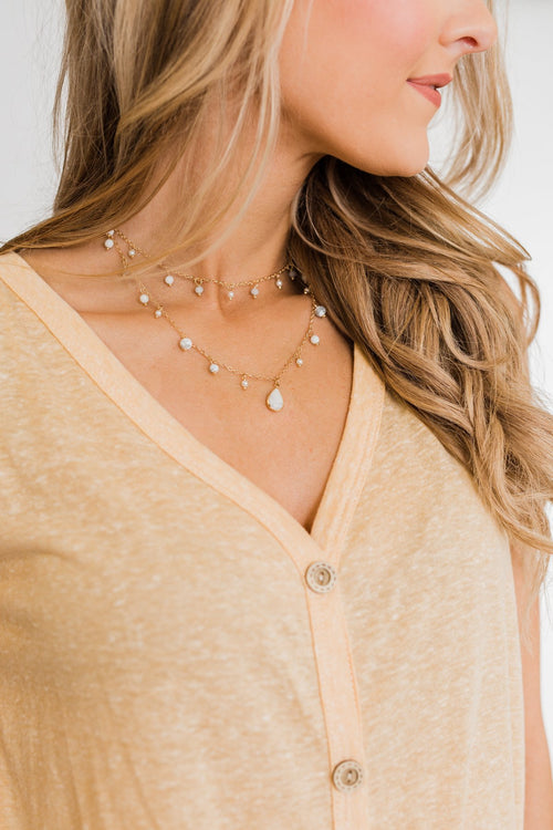 2 Tier Beaded Teardrop Necklace- Marble & Gold