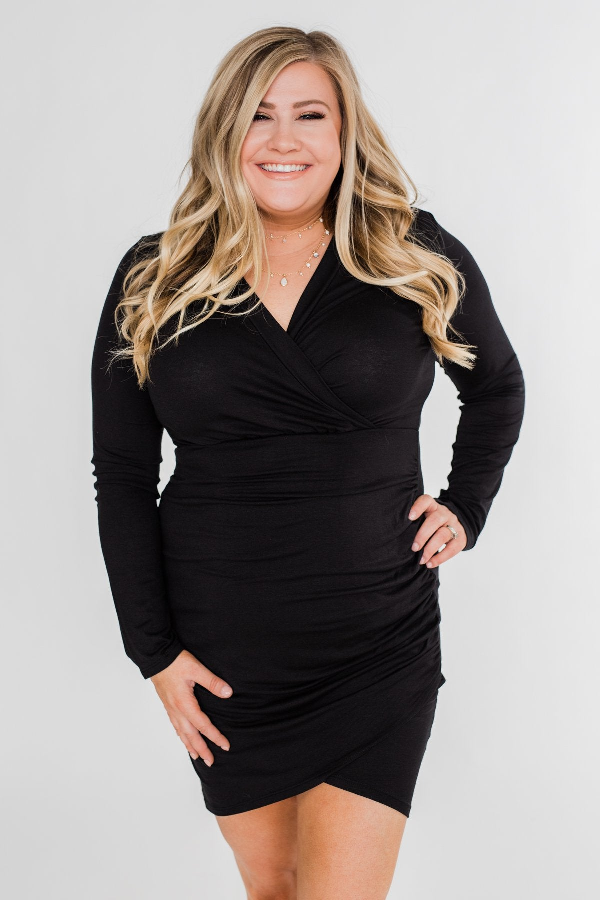 Truly Elegant Long Sleeve Fitted Dress- Black