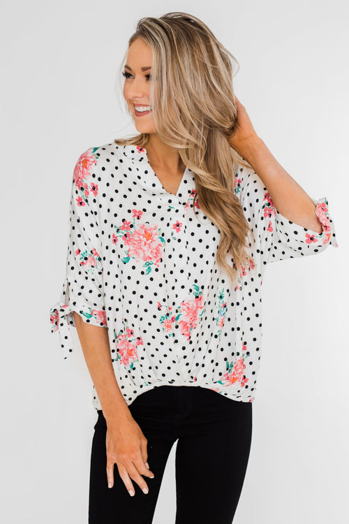 2bf55d81dc5d84 Show You Off Polka Dot   Floral Top- Ivory