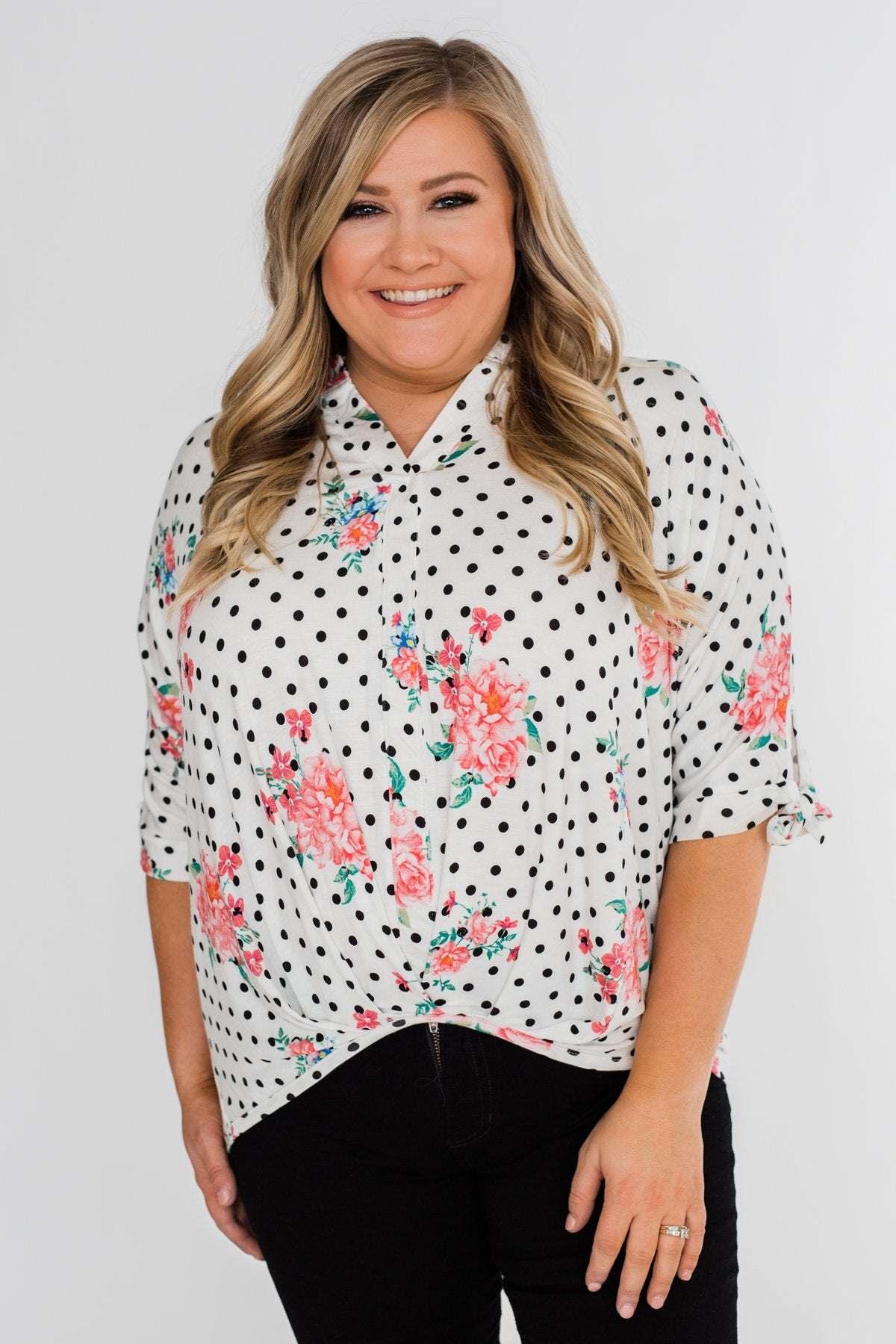 Show You Off Polka Dot & Floral Top- Ivory