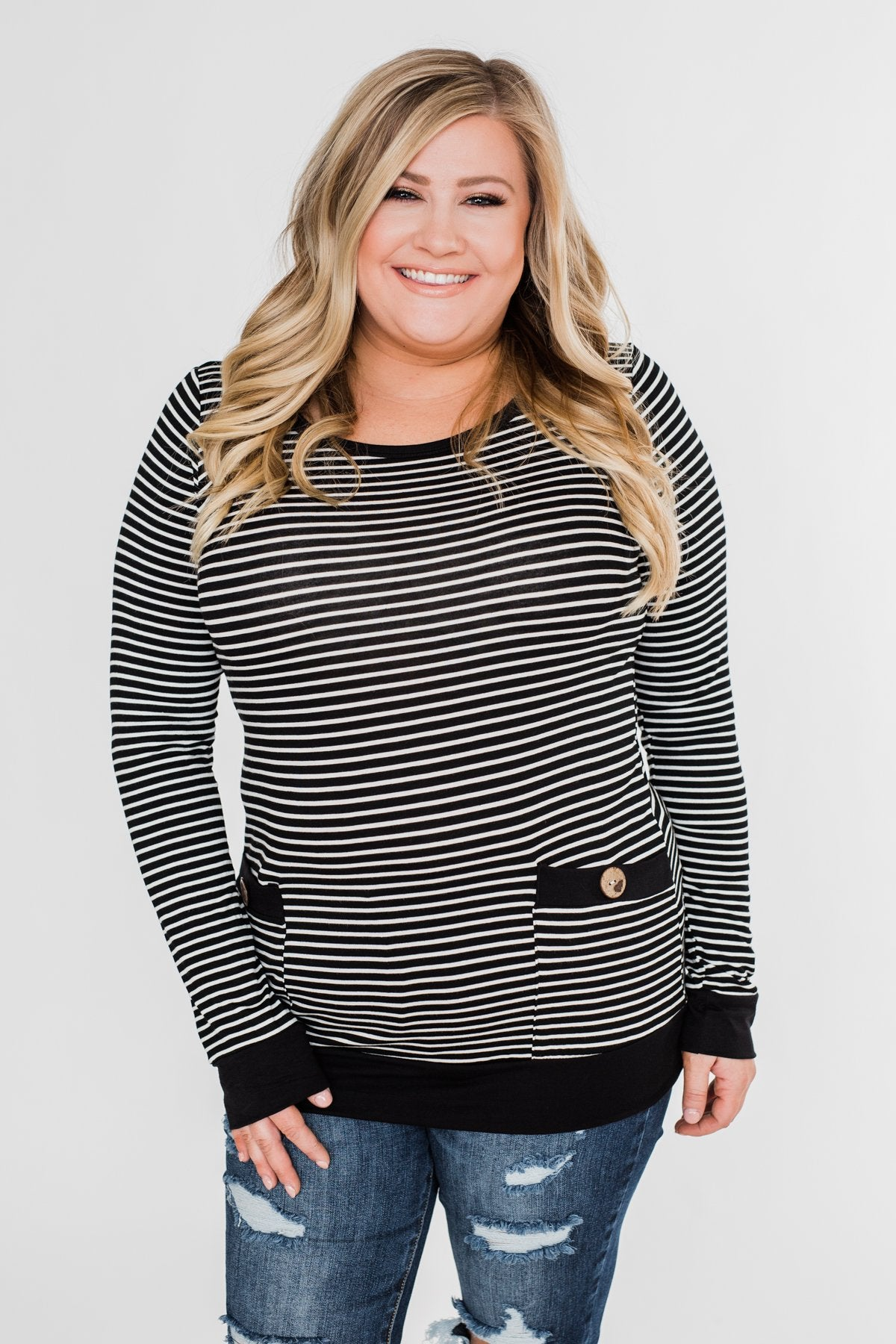 So Much In Common Striped Pocket Top- Black