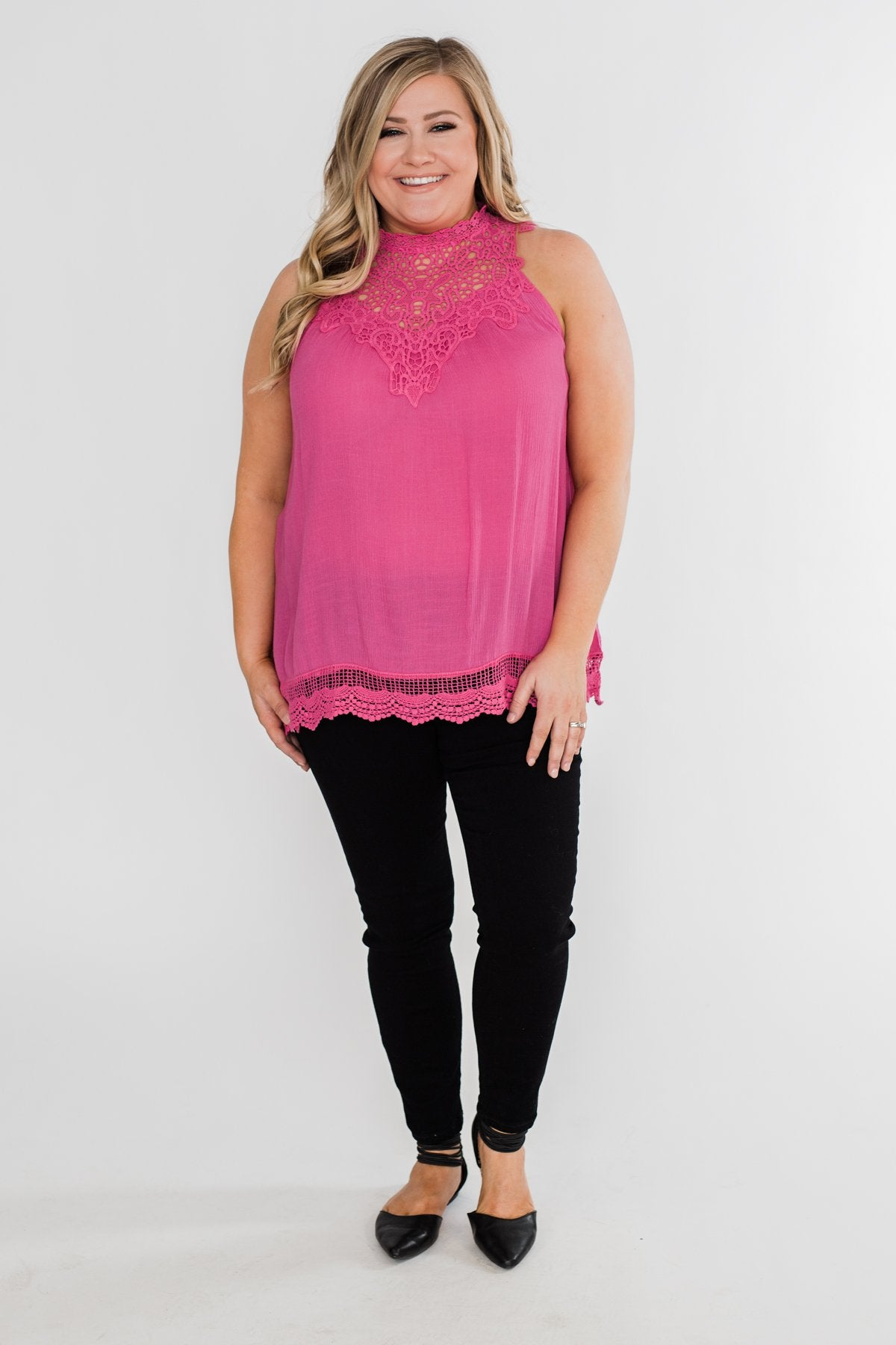 I Choose You Lace Tank Top- Fuchsia