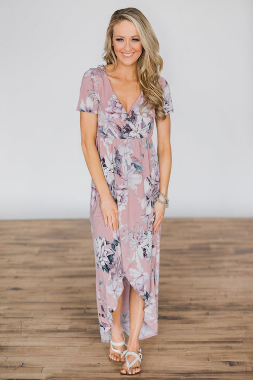 You're the One I Want Floral Dress- Dusty Rose